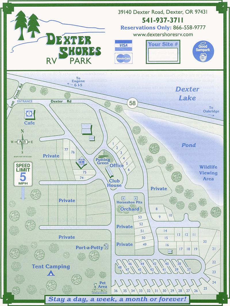 Park Map Dexter Shores RV Park - Map of oregon rv parks